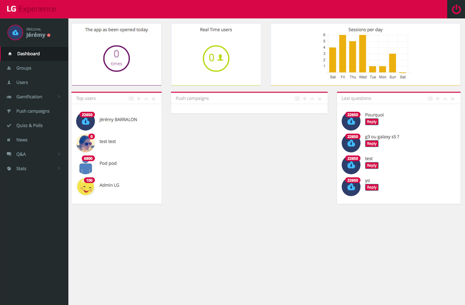 LG Experience Dashboard